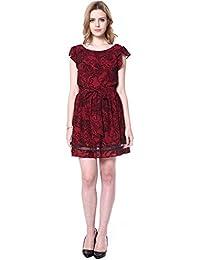 JNTworld Damen Gentle Runde Ausschnitt Krause Sleeve Schlank Bedrucktes Kleid