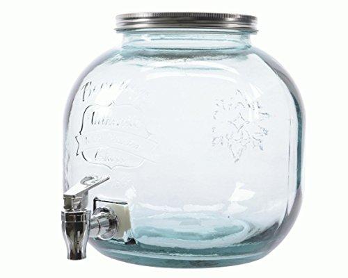 Time for Home Getränkespender Recycle Rund 5 L Glas, Vintage Wasserspender Saftspender Zapfhahn Deckel Metalldeckel Drehdeckel