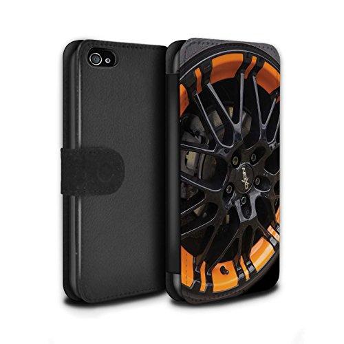 STUFF4 PU-Leder Hülle/Case/Tasche/Cover für Apple iPhone SE / Grau/Silber Muster / Leichtmetallfelgen Kollektion Schwarz/Orange
