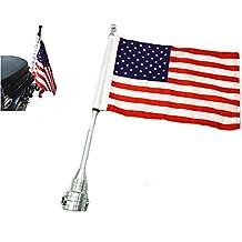 Mástil para bandera de plata conjunto trasero negro para motocicletas portaequipajes de bandera de Estados Unidos Custom