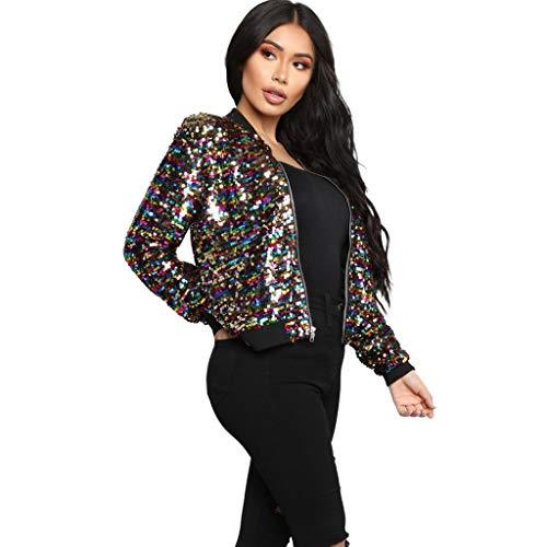Briskorry Pailletten Jacke Damen Langarm Sparkly Reißverschluss vorne Blazer Bomberjacke Slim kurzjacke Schwarz Elegant Damenmode Outwear...