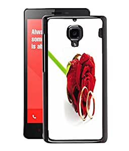 Fuson 2D Printed Rose Designer Back Case Cover for Xiaomi Redmi1S - D629