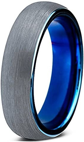 Tungsten Wedding Band Ring 4mm for Men Women Comfort Fit Blue Round Domed Brushed Lifetime Guarantee Size V 1/2