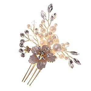 MagiDeal Kristall Perlen Vintage Hochzeit Haarkamm Haarschmuck