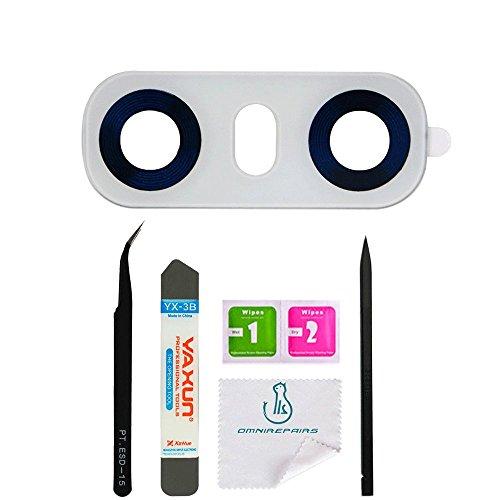 omnirepairs-Rear mit Glas Kamera Objektiv Rahmen Montage Ersatz für LG G6mit vorinstalliert Selbstklebend und Reparatur Toolkit, Weiß