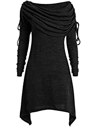 16a79015a1578 Lazzboy Womens Tops Blouse Tunic Sweatershirt Long Sleeve Plus Size  Oversized Ruched Collar Pullover