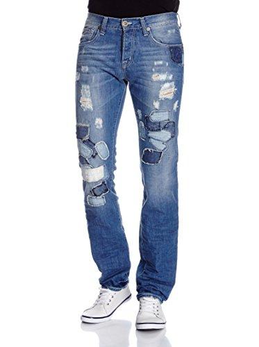 Red Bridge Herren Jeans / Straight Fit Jeans Patches Denim