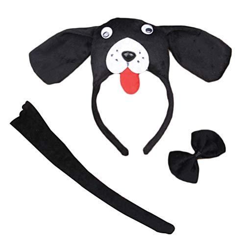 Amosfun 3 Stück Kinder Tier Kostüm Set mit Hund Ohren Stirnband Schwanz und Fliege Tierkostüm für Ostern Party Cosplay Verkleidung (Schwarz)