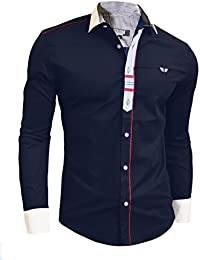 D&R Fashion Men's Shirt with Decorative Fastening Classic Collar and Double Cuffs Modern Design Black