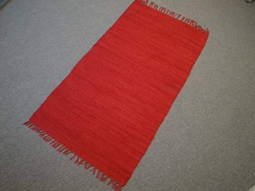 Garmisch Kelim Handweb aus Indien 170 x 120 cm UNI Rot Red 100{af42e455a237d04a160a062b4b8328def74d832ab10c1df345b9bef4a62c5c28} Baumwolle Handgewebt (140 x 70 cm)