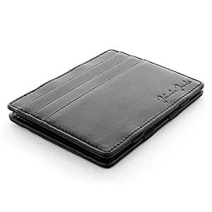 Jaimie Jacobs Men Magic Wallet Flap Boy Slim - the Original - with RFID-Blocking Genuine Leather (Black Nappa)