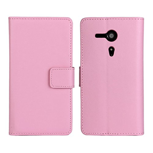 UKDANDANWEI Sony Xperia SP Hülle - Book-Style Wallet Case Flip Cover Etui Tasche Case mit Standfunktion Für Sony Xperia SP C5302 C5303 M35H Rosa