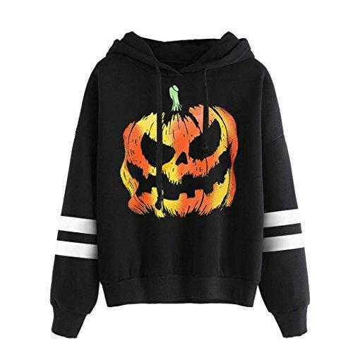 JIANGFU Frauen-Halloween-langes Hülsen-mit Kapuze Druck-T-Shirt T-Shirt Strickjacke,Women Round Neck Halloween Print Long Sleeve Casual Sweatshirt Pullover Tops (Halloween Lustige 3 Kostüme Bett)
