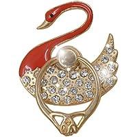 RG Metallo Telefono dell'anello di barretta Grip portatile Cellulari Holder 360 rotazioni Bling strass Diamante Stile di figura del cigno, Rosso