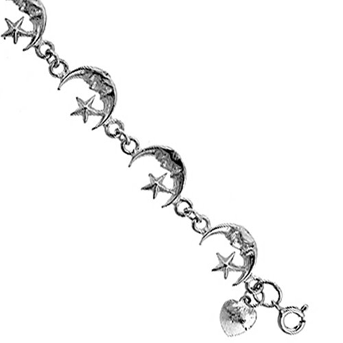 Revoni Sterling Silver Crescent Moon Charm Bracelet