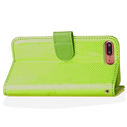 Voguecase Pour Apple iPhone 7 Plus 5,5 Coque, Étui en cuir synthétique chic avec fonction support pratique pour iPhone 7 Plus 5,5 (Lumineux et coloré-Rose)de Gratuit stylet l'écran aléatoire universel Lumineux et coloré-Vert