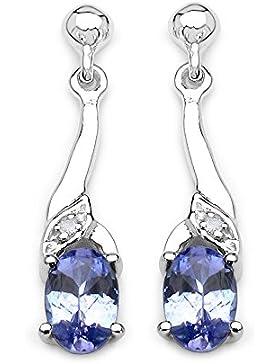 Die Tansanit-Ohrringe Kollektion: Ohrringe Silber natürliche Tansanit und Diamant mit 2cms Tropfen.
