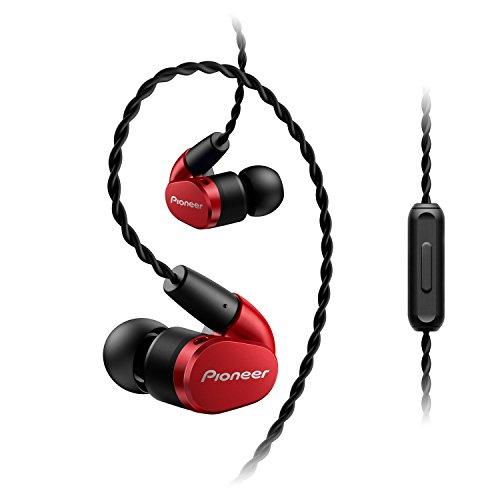 Pioneer SE-CH5T(R) Hi-Res Audio In-Ear Kopfhörer (Over-the-ear Kabel, verschlaufungsfrei, Flechtdesign, Bedienelement, Mikrofon, Rufannahmefunktion, für iPhone, Android Smartphones), Rot