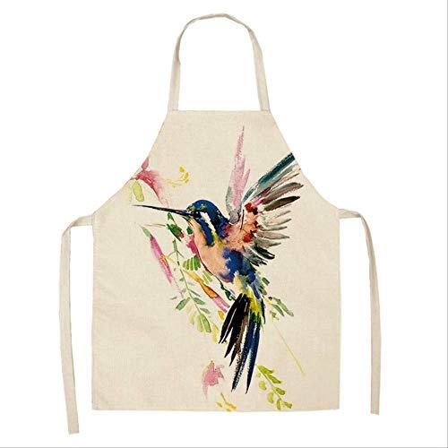 mhde Schürzen 1 Stücke Vogel Blume Zweig Gedruckt Küchenschürzen Für Frauen Haushaltsreiniger Zubehör Leinen Kochschürze 53 * 65 cmV -