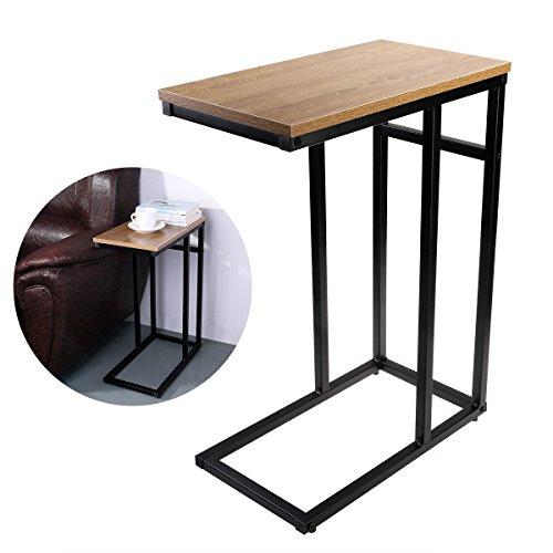 OULII Sofa-Beistelltisch in Holzoptik aus Stahl, C-Tisch
