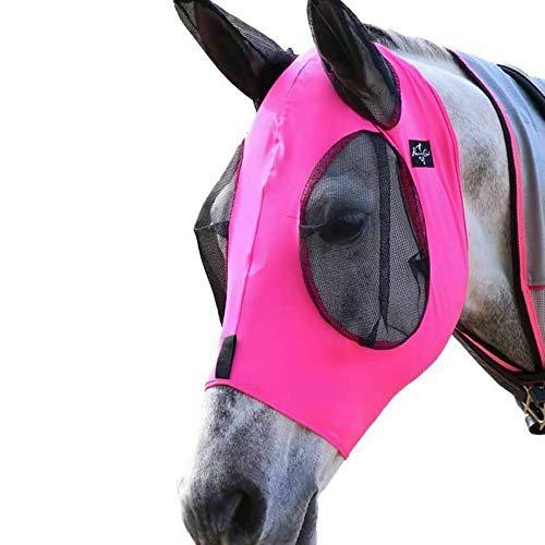 Juanshi 1 Stück Horse Fly Maske, Fliegenmaske mit Ohren, Extra Comfort Lycra Grip Soft Mesh Horse Fly Maske mit Ohren-Pink
