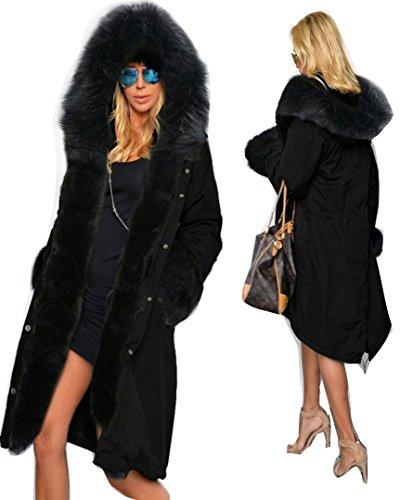 Roiii caldo invernale da donna in pelliccia sintetica, lunga-giacca a vento con cappuccio, taglie varie nero  nero