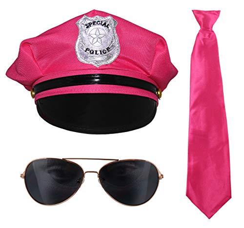 pinkes 80er Jahre Kostüm Set Junggesellenabschied Polizei Mütze Krawatte Bärte (80er Jahre Kleiderschrank)