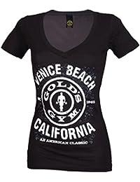 Golds Gym T-Shirt,Venice Plate Schwarz/Weiß,Tshirt,Shirt,Fitness,Damen,Frauen,Girl,Muscle Joe,Top,Bodybuilder,T-shirt,Axelshirt