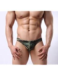 GL&G Tanga para hombre pantalones de cintura baja T pantalones camuflaje de bolsillo color ropa interior,green,M