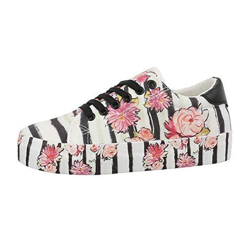 Ital-Design Damenschuhe Freizeitschuhe Sneakers Low Canvas Weiß Schwarz Gr. 38