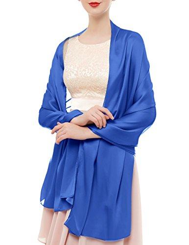 Bridesmay donna elegante seta sciarpe morbido collo solido avvolge scialli royal blue