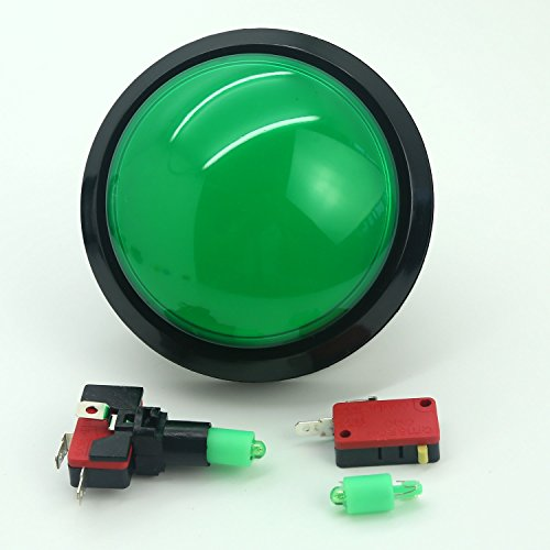Reyann 5V Diameter 100mm Dome LED Illuminated Push Button Switch With LED Lamps Microswitch For Arcade Game Machines & MAME Cabinets - Grün Farbe Illuminated Push Button Switches