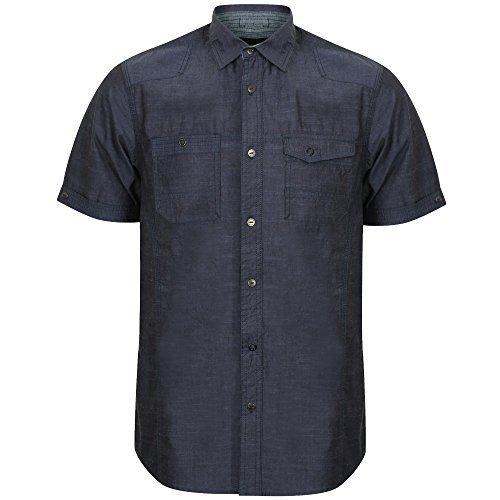 Herren Shirt Dissident Aufrollen Kurzärmelig Militär Stil Baumwolle Freizeit Sommer Indigo - 1H8942