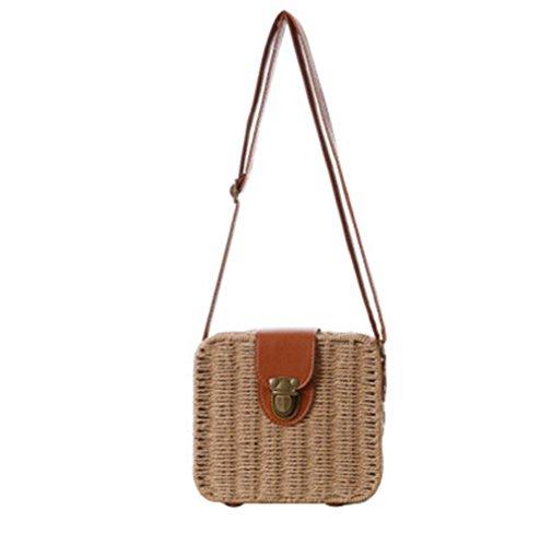 Sacchetto di paglia della borsa della traversa della borsa della caramella del pacchetto Piccolo quadrato della scatola Tote di tessitura di modo semplice della spiaggia , light brown light brown