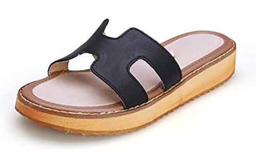 H pantoufles croûte épaisse muffins occasionnels sandales plates mot glisser Black
