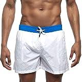 MOTOCO Herren Shorts Badehose schnell trocken Strand Surfen Laufen Schwimmen elastische Taille gespleißt Watershort Hose(2XL,Weiß-1)