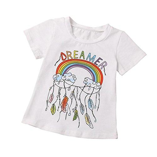 Kingko® 1 bis 4 Jahre alt Junge Mädchen Kurzarm Regenbogen Nizza Traum Print T Shirt Outfits Kleidung (110) (Geometrische Rock Print)