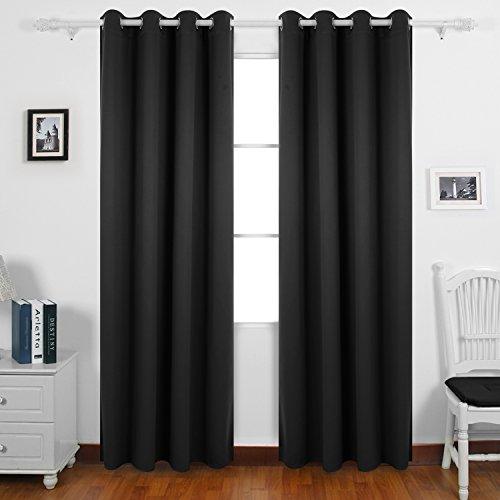 Deconovo tende oscuranti termoisolanti con occhielli per finestre salotto moderno 140x260 cm nero 2 pannelli