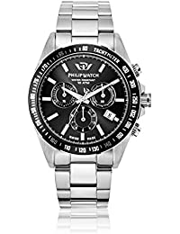 Philip Caribe Men's Quartz Watch with Black Dial Analogue Display and Silver Stainless Steel Strap R8273607002