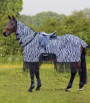 Waldhausen Fliegenausreitdecke Zebra mit Fransen, schwarz/weiß, 125 cm