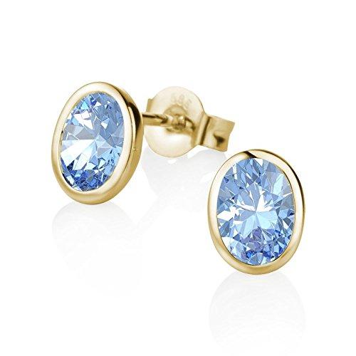 Weiß-gold Schmuck-set Topas Blauer (21Diamonds Damen-Ohrstecker Christina 21Premium mit blauem Topas, 14 Karat (585) Gelbgold Ohrringe)