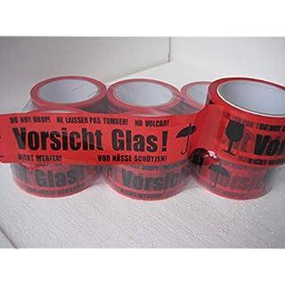 6 Rollen Klebeband Vorsicht Glas 66lfm lang 48 mm breit reduziert