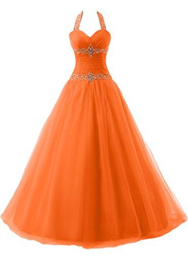 ivyd ressing robe dos nu avec pierres ligne Duchesse préférée Prom Long Lave-vaisselle robe robe du soir Orange - Orange
