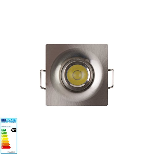 Mini LED Einbaustrahler Einbauleuchte Spot einbauspot mit Eckig Quadrat Rahmen Schwenkbar 1 Watt inkl. LED Trafo 4200K Neutralweiß