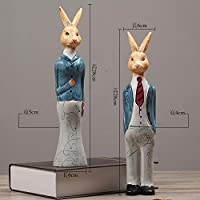 Winpavo Ornaments Sculpture Statues Creative American Pastoral Couple Rabbit Wood Carving To Send Husband Boyfriend Gift Tv Cabinet Desktop Ornaments Blue