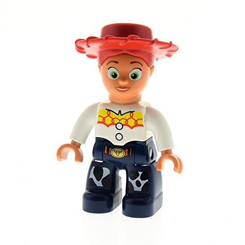 1 x Lego Duplo Figur Frau Mädchen Jessie rot weiß dunkel blau Toy Story Western Cowgirl Cowboy Hut Haare Zopf rot Set 5657 5659 47394pb129