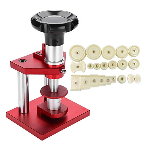 Uhrenpresse, 18 mm bis 50 mm Uhrenrückseite Gehäuseschraubenschließer mit 20 Stempeln Uhrmacher-Presswerkzeug-Set Professionelle Uhr Kristalllünette Presswerkzeuge für die Uhrenreparatur