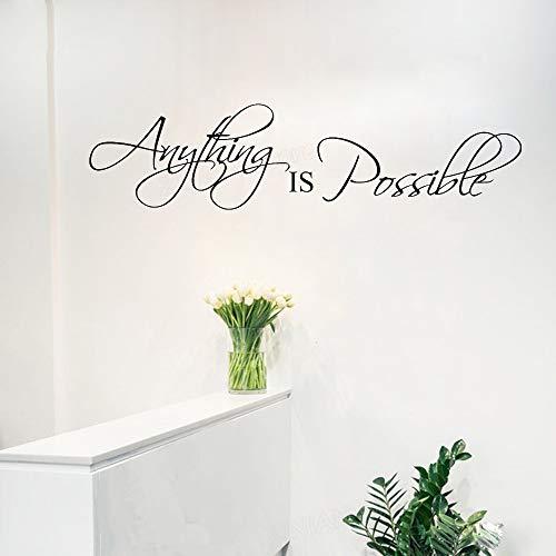 guijiumai Alles ist möglich Wandtattoo Schlafzimmer Motivation Erfolg Ziel Wandbild Zitat Aufkleber Wohnkultur Inspire Wallpaper weiß 57x14 cm - City Lego Ziel