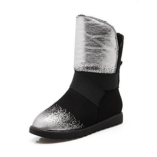 <span class='b_prefix'></span> AgooLar Women's Solid Microfibre Low-Heels Round-Toe Pull-On Boots