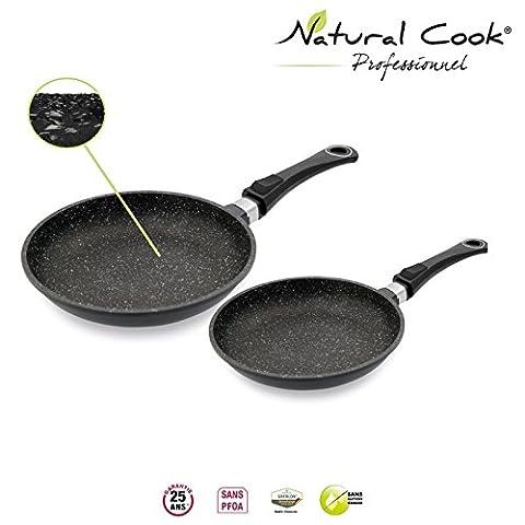 Lot de 2 Poêles 24 / 32 cm en pierre granité et céramique - tous feux dont induction - Natural Cook